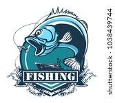 fishing bass logo. bass fish...   Shutterstock .eps vector #1038439744