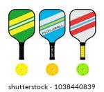 three pickleball rackets and... | Shutterstock .eps vector #1038440839
