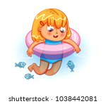 happy girl swimming with... | Shutterstock .eps vector #1038442081