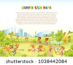 walking children in city park.... | Shutterstock .eps vector #1038442084