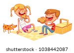 boy and girl with puppy eating... | Shutterstock .eps vector #1038442087