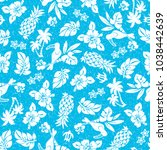 hibiscus and pineapple pattern  ... | Shutterstock .eps vector #1038442639