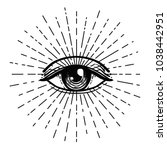blackwork tattoo flash. eye of... | Shutterstock .eps vector #1038442951