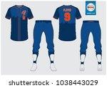 blue baseball jersey  sport... | Shutterstock .eps vector #1038443029