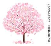 cherry blossoms spring flower...   Shutterstock .eps vector #1038443077