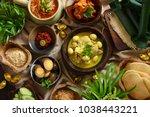 lontong cap go meh. peranakan... | Shutterstock . vector #1038443221
