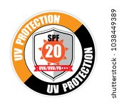 uv protection spf 20   button ... | Shutterstock .eps vector #1038449389
