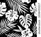 seamless pattern with tropical...   Shutterstock .eps vector #1038453217