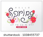 spring sale background layout... | Shutterstock .eps vector #1038455737
