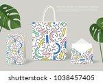 creative pattern on packaging... | Shutterstock .eps vector #1038457405