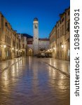 Small photo of Classic panoramic view of famous Stradun, the main street of the old town of Dubrovnik, in beautiful morning twilight before sunrise at dawn in summer, Dalmatia, Croatia