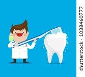 dentist showing how to brush...   Shutterstock .eps vector #1038460777