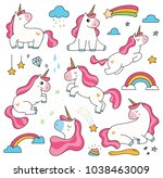 set of cute cartoon unicorn...   Shutterstock .eps vector #1038463009