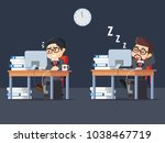 overtime working in the office | Shutterstock .eps vector #1038467719