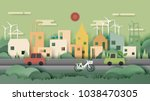 green nature eco friendly city... | Shutterstock .eps vector #1038470305