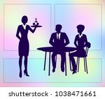 young couple sitting at table... | Shutterstock .eps vector #1038471661