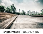 city park under blue sky with... | Shutterstock . vector #1038474409
