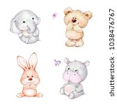 Stock photo set of cute baby animals elephant bear bunny hippopotamus 1038476767