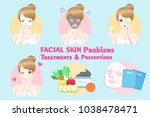 woman with facial skin problems ... | Shutterstock .eps vector #1038478471