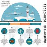 airport passenger terminal and... | Shutterstock .eps vector #1038479251