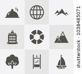icon set about travelling with... | Shutterstock .eps vector #1038485071