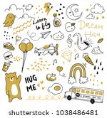 cute doodle collection  print... | Shutterstock .eps vector #1038486481