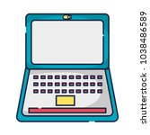 electronic laptop technology to ... | Shutterstock .eps vector #1038486589
