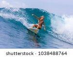 Surfer Girl On A Wave Bali...