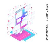 spam. isometric concept with a... | Shutterstock .eps vector #1038495121