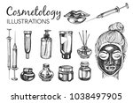vector set with hand drawn... | Shutterstock .eps vector #1038497905