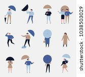 rainy day various people... | Shutterstock .eps vector #1038503029