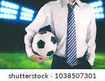 faceless soccer club manager... | Shutterstock . vector #1038507301