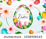 happy easter background  trendy ... | Shutterstock .eps vector #1038508165