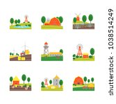 cartoon eco farm landscape... | Shutterstock .eps vector #1038514249
