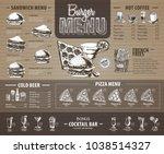 vintage  burger menu design on... | Shutterstock .eps vector #1038514327