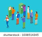 payment terminal and people... | Shutterstock .eps vector #1038514345