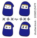ninja icon set   cute type | Shutterstock .eps vector #1038515479