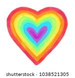 rainbow heart. raster... | Shutterstock . vector #1038521305