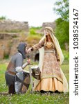 young medieval knight and lady... | Shutterstock . vector #1038524167