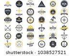 nautical retro vector logo for... | Shutterstock .eps vector #1038527521