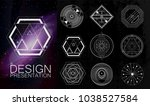 set of 9 hand drawn geometric... | Shutterstock .eps vector #1038527584