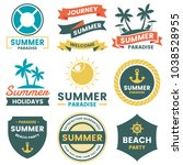 summer retro vector logo for... | Shutterstock .eps vector #1038528955
