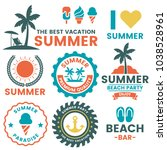 summer retro vector logo for... | Shutterstock .eps vector #1038528961