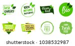 set of letterings for farm food ... | Shutterstock .eps vector #1038532987