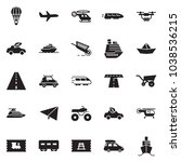 solid black vector icon set  ... | Shutterstock .eps vector #1038536215
