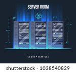 data center and server room.... | Shutterstock .eps vector #1038540829