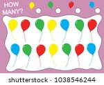 count how many balloons ... | Shutterstock .eps vector #1038546244