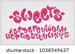 candy hand drawn typeset  sweet ... | Shutterstock .eps vector #1038549637