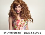 gorgeous girl with long and... | Shutterstock . vector #1038551911