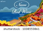 the wine label of red wine | Shutterstock .eps vector #1038553861